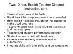 two direct explicit teacher directed instruction cont