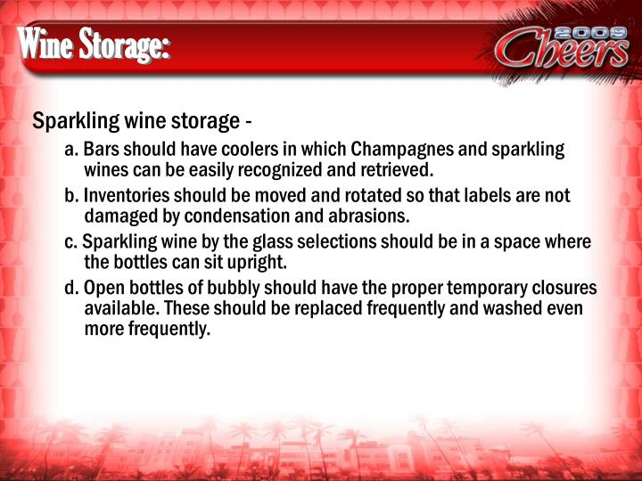 Wine Storage:
