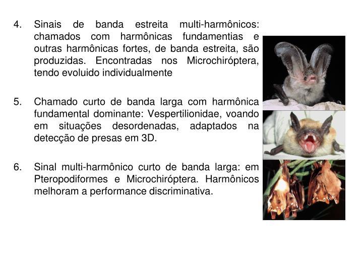 Sinais de banda estreita multi-harmônicos: chamados com harmônicas fundamentias e outras harmônicas fortes, de banda estreita, são produzidas. Encontradas nos Microchiróptera, tendo evoluido individualmente