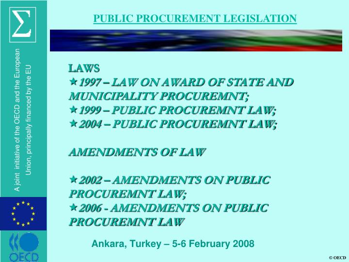 PUBLIC PROCUREMENT LEGISLATION