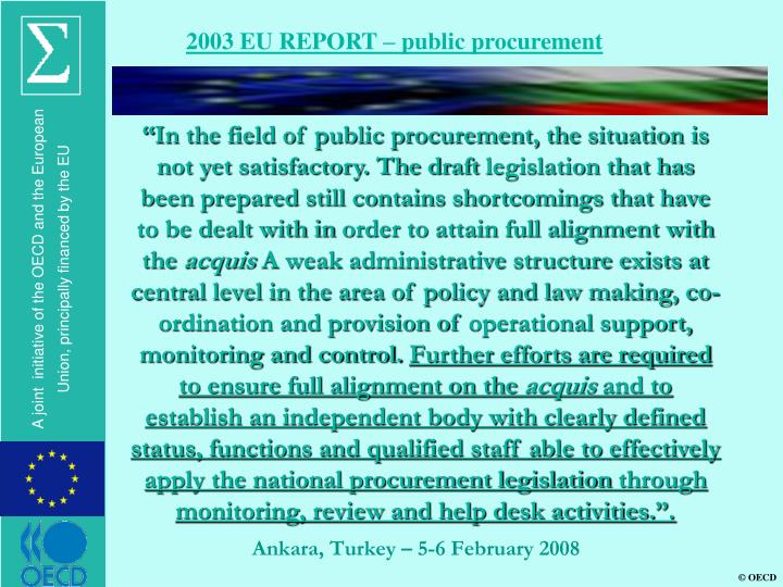 2003 EU REPORT – public procurement