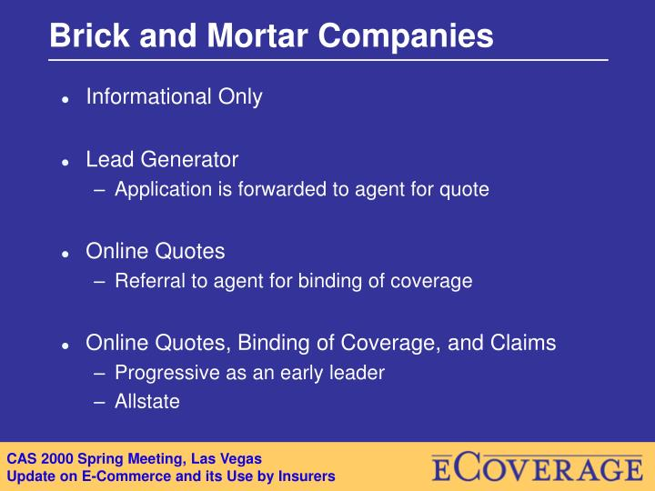 Brick and Mortar Companies