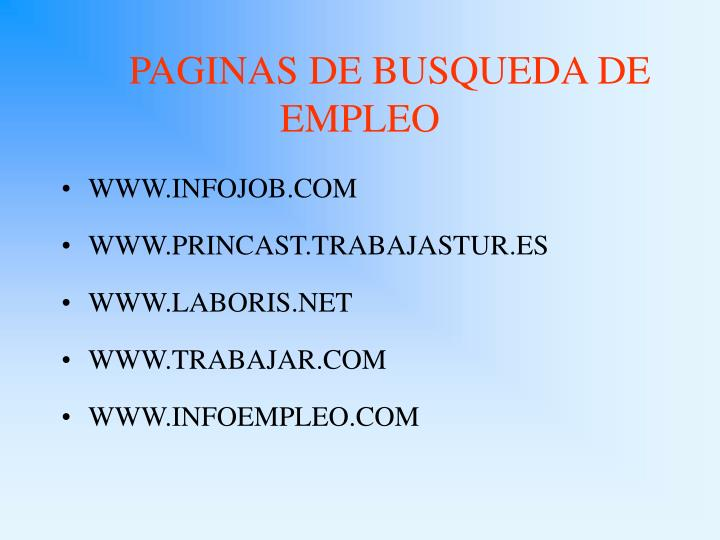 PAGINAS DE BUSQUEDA DE EMPLEO