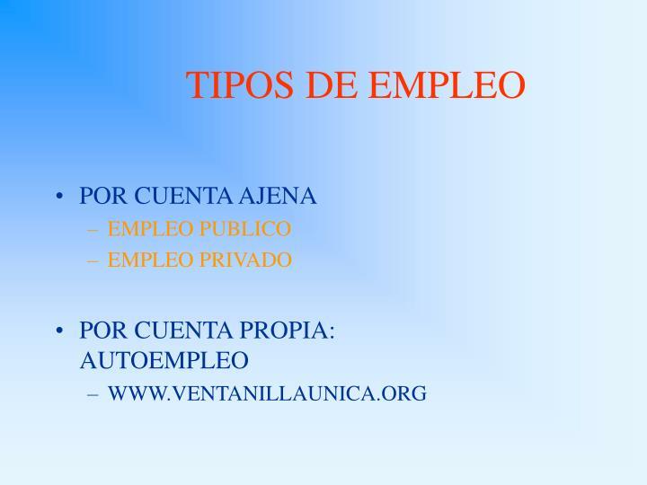 TIPOS DE EMPLEO
