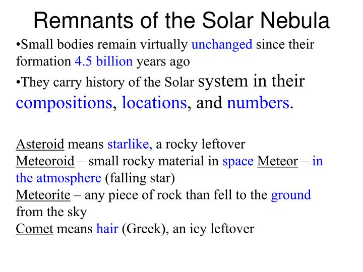 Remnants of the solar nebula