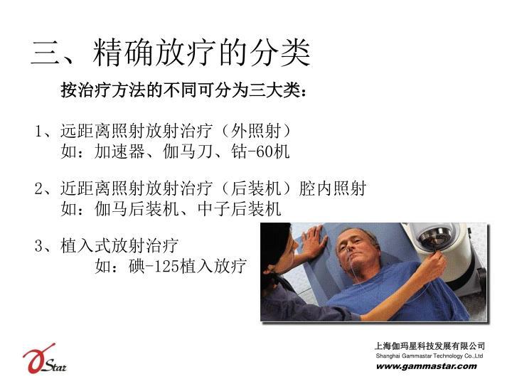 三、精确放疗的分类