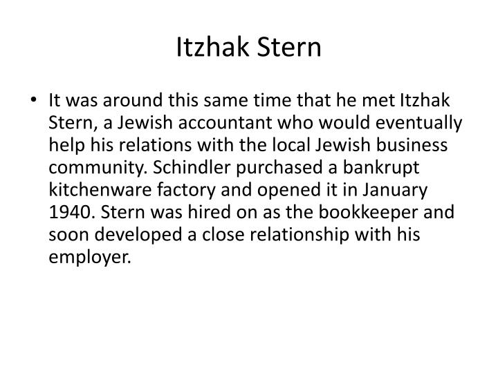 itzhak stern and schindler relationship