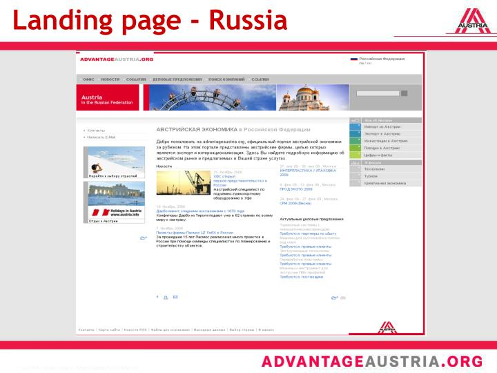 Landing page - Russia