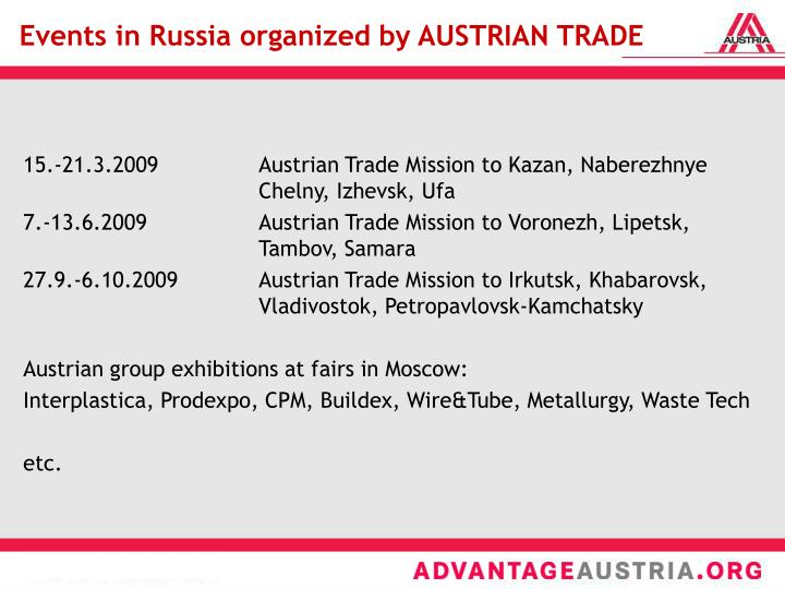 Events in Russia organized by AUSTRIAN TRADE