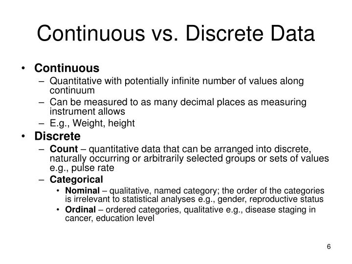 Continuous vs. Discrete Data