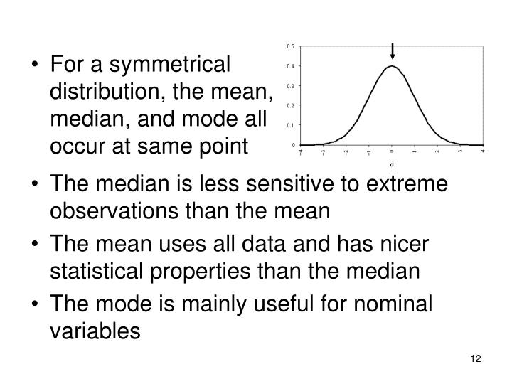 For a symmetrical distribution, the mean, median, and mode all occur at same point