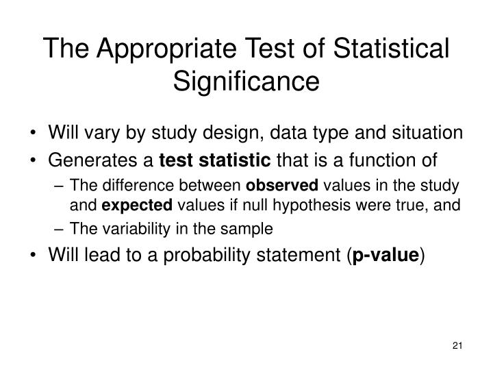 The Appropriate Test of Statistical Significance