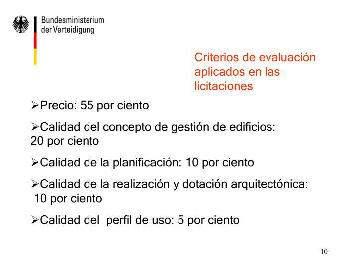 Criterios de evaluación aplicados en las licitaciones