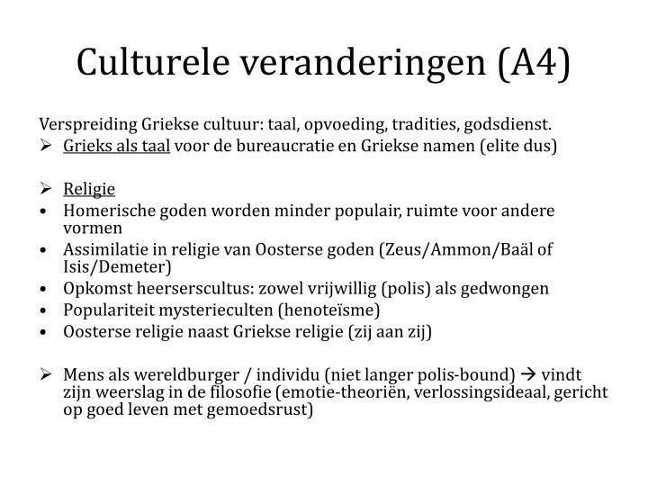 Culturele veranderingen (A4)