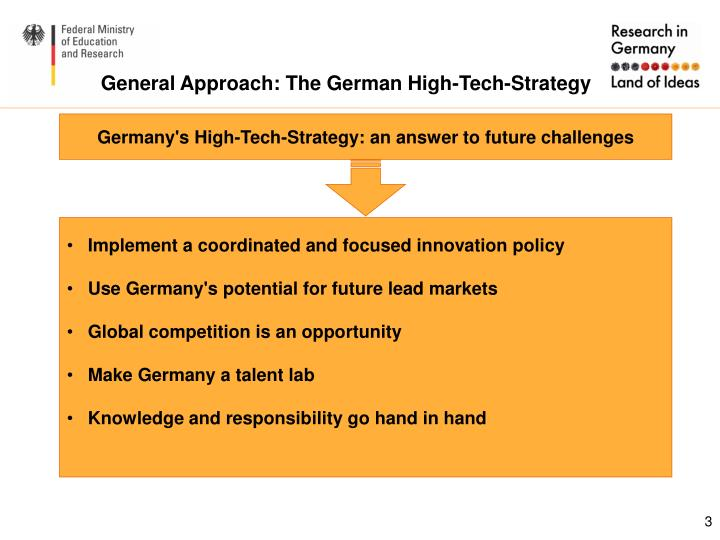 General approach the german high tech strategy