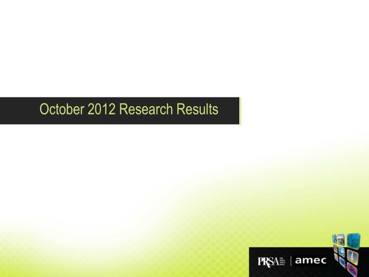October 2012 Research Results