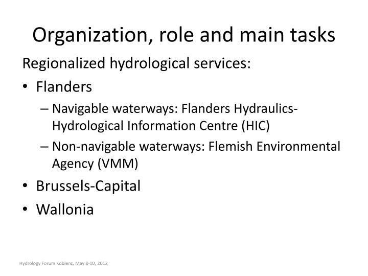 Organization, role and main tasks