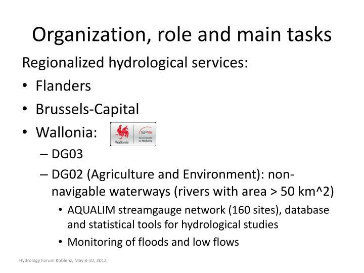 Organization, role and main tasks