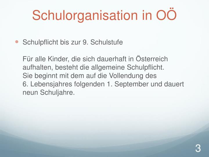 Schulorganisation in o