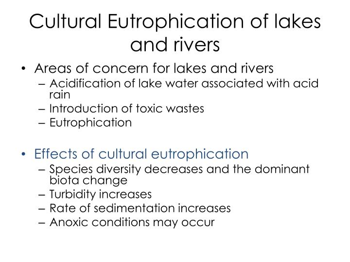 Cultural Eutrophication of lakes and rivers