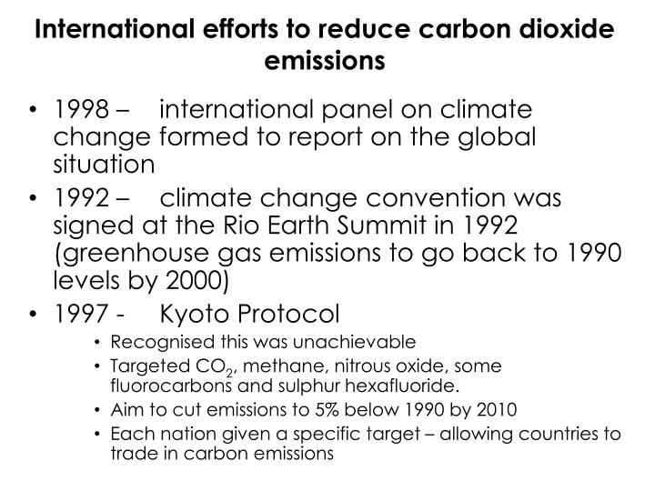 International efforts to reduce carbon dioxide emissions