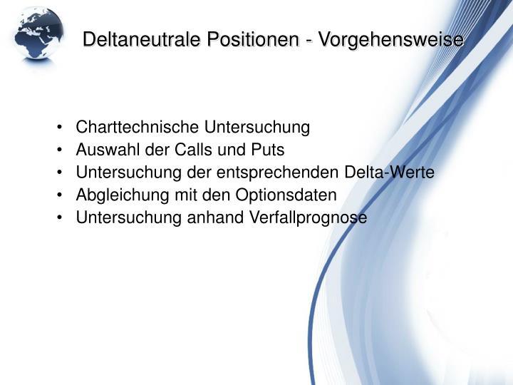 Deltaneutrale Positionen - Vorgehensweise
