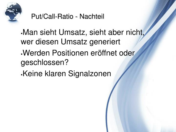 Put/Call-Ratio - Nachteil
