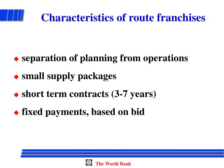Characteristics of route franchises