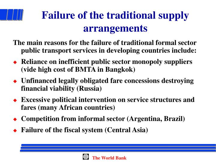 Failure of the traditional supply arrangements
