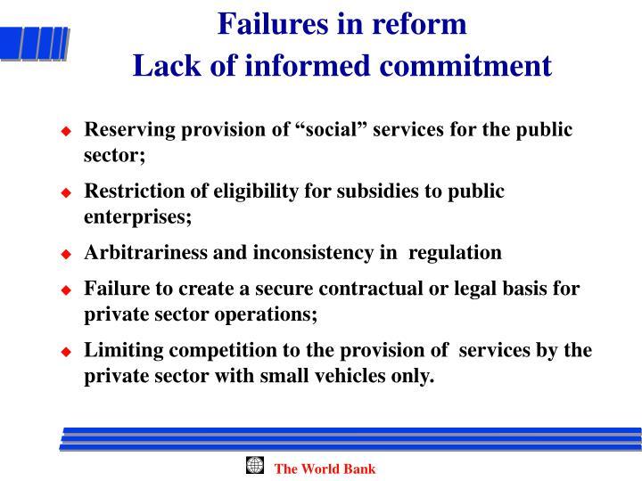 Failures in reform