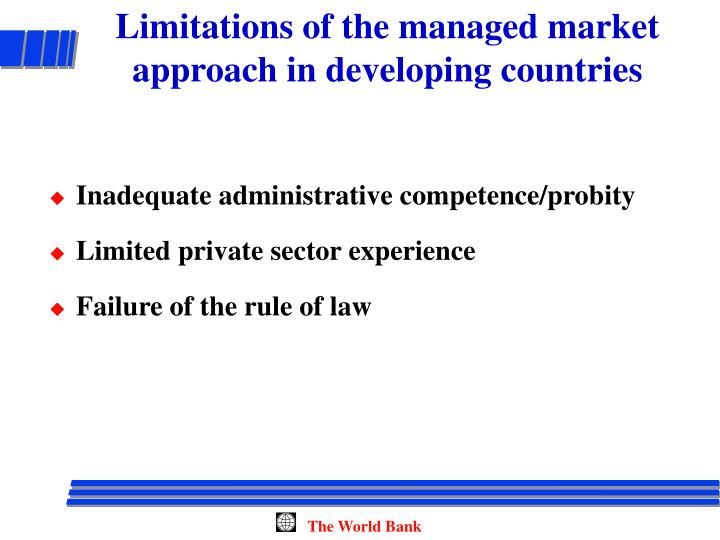 Limitations of the managed market approach in developing countries