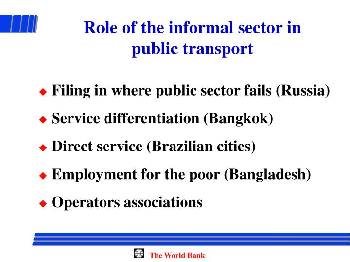 Role of the informal sector in