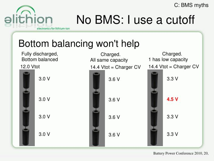 No BMS: I use a cutoff
