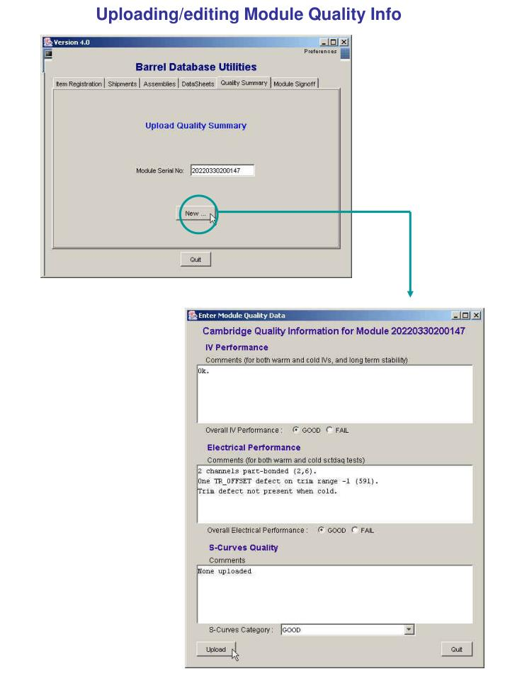Uploading/editing Module Quality Info