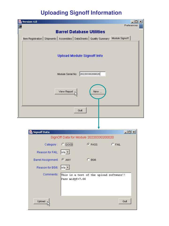 Uploading Signoff Information