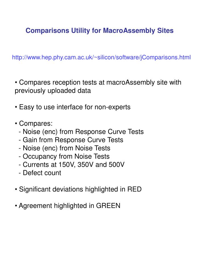 Comparisons Utility for MacroAssembly Sites