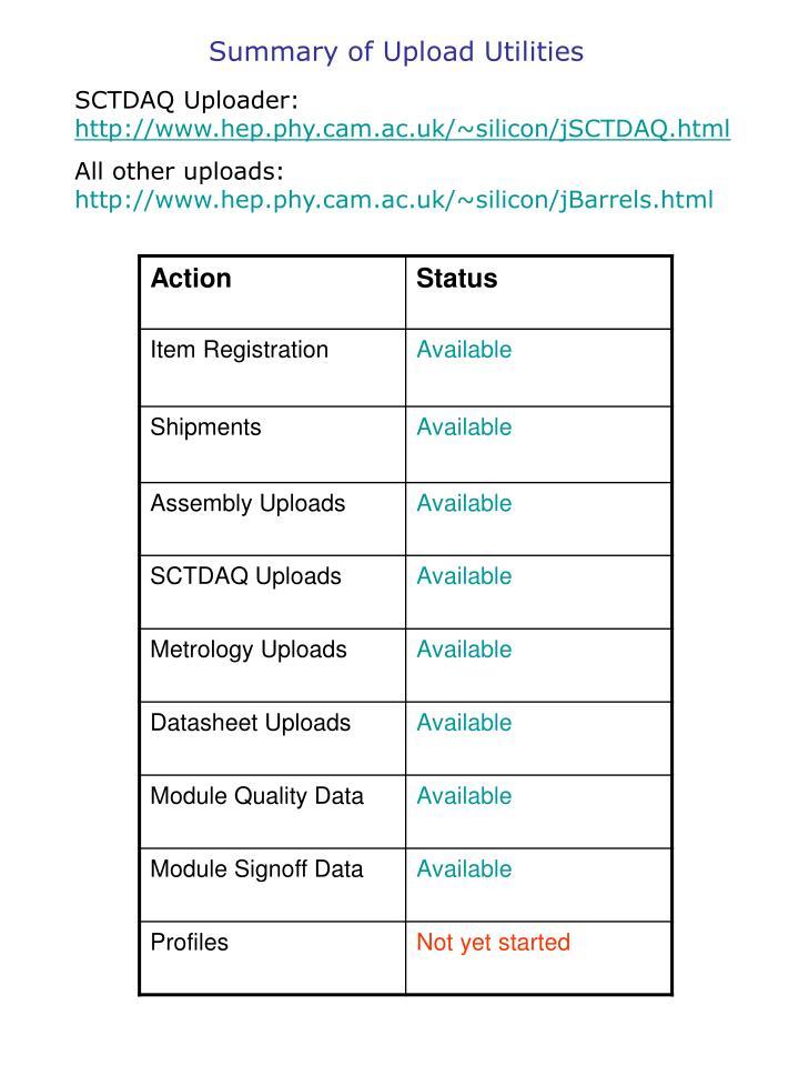 Summary of Upload Utilities
