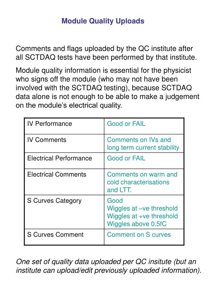 Module Quality Uploads
