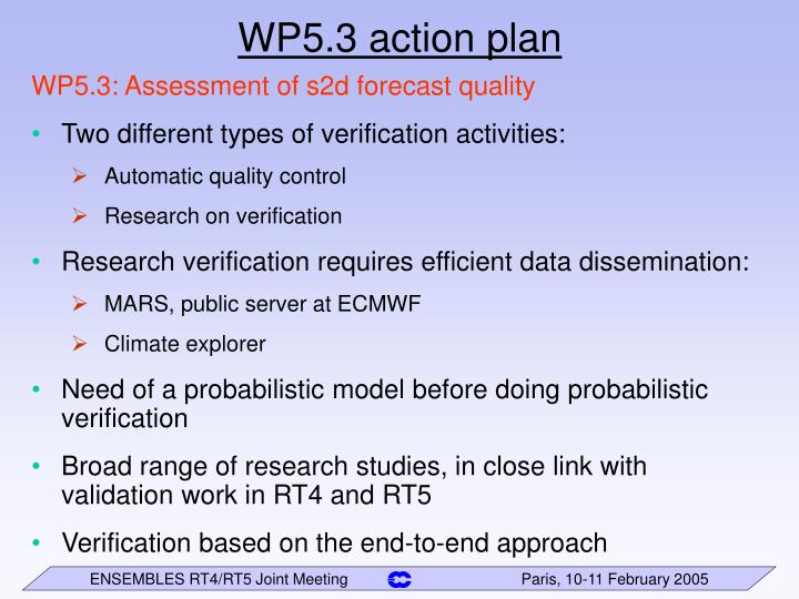WP5.3 action plan