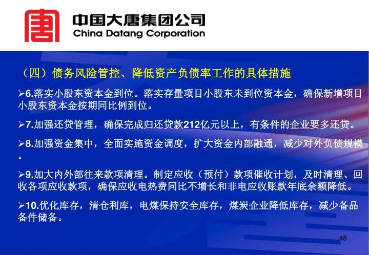 (四)债务风险管控、降低资产负债率工作的具体措施