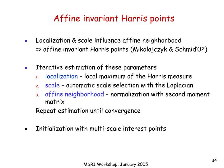 Affine invariant Harris points