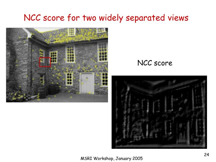 NCC score for two widely separated views