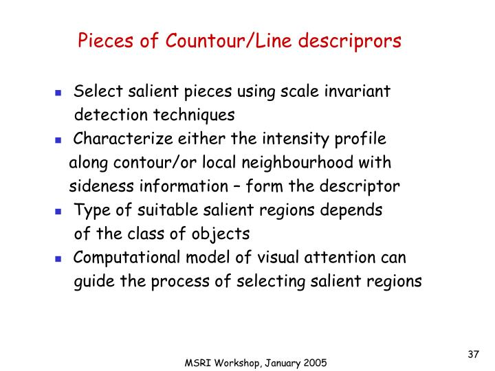Pieces of Countour/Line descriprors