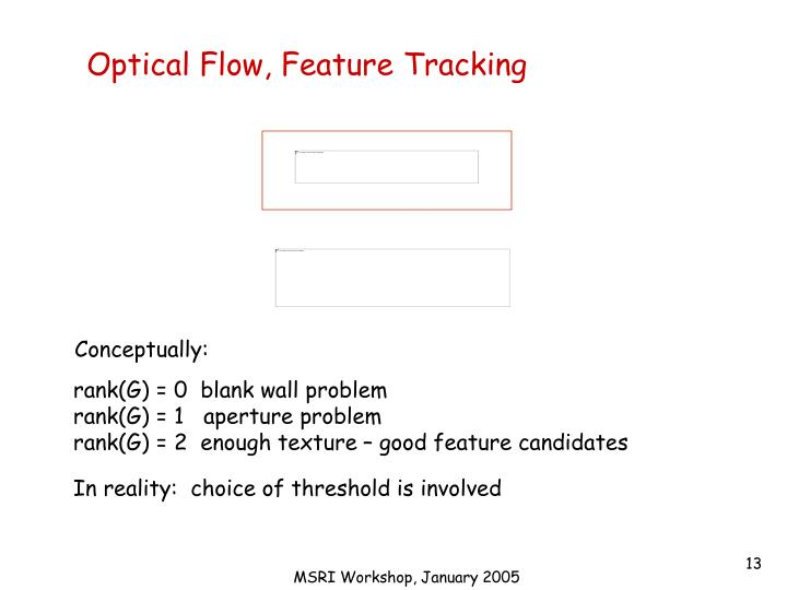 Optical Flow, Feature Tracking