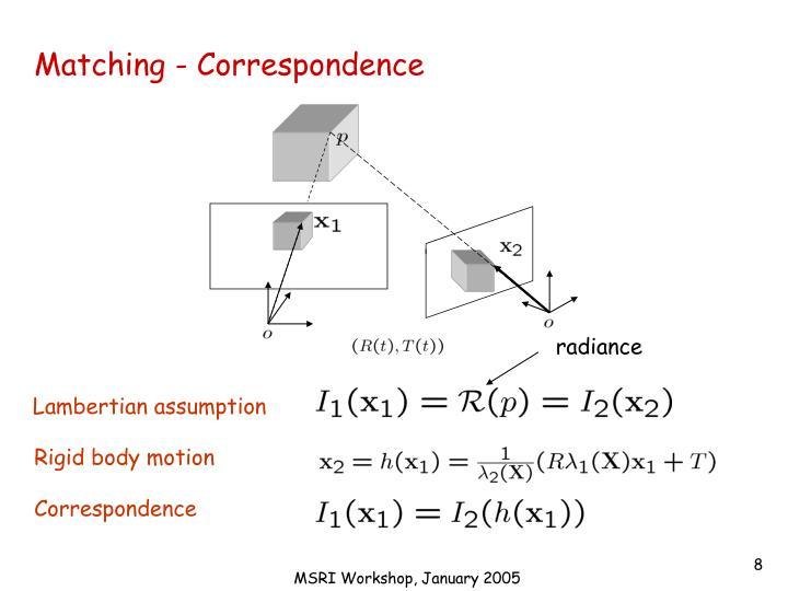 Matching - Correspondence