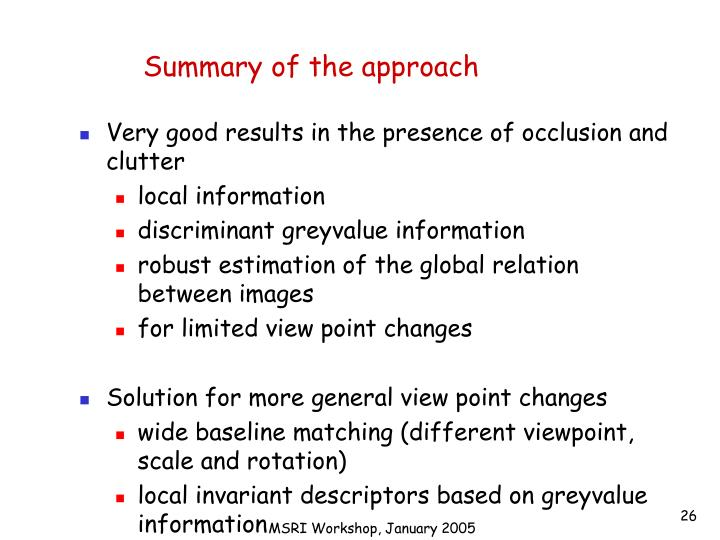 Summary of the approach