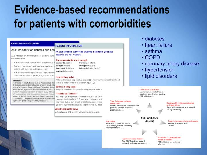 Evidence-based recommendations for patients with comorbidities