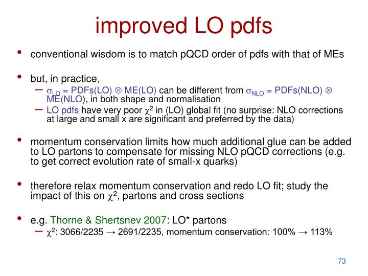 improved LO pdfs