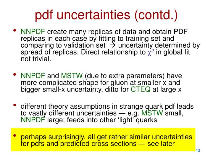 pdf uncertainties (contd.)