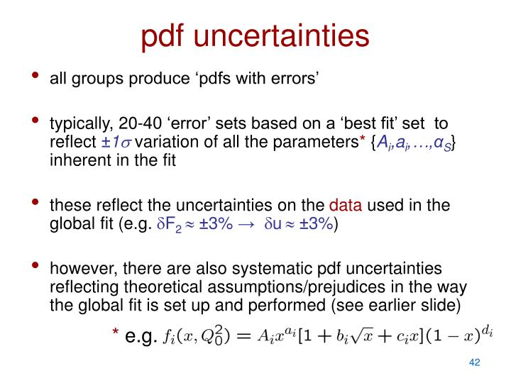 pdf uncertainties